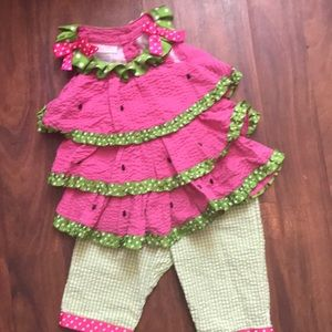 Watermelon two piece little girl outfit